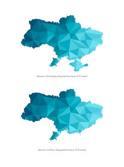 Карта украины (включая спорную территорию крыма и без нее) карты. многоугольный геометрический стиль, треугольные формы.