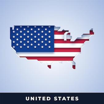플래그와 함께 아메리카 합중국의 지도