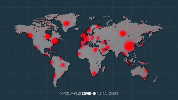 世界中のコロナウイルスパンデミアの地図が広がりました。ウイルスの世界的な発生の警告。星と惑星地球の背景のウイルス構造。国際感染症。図。