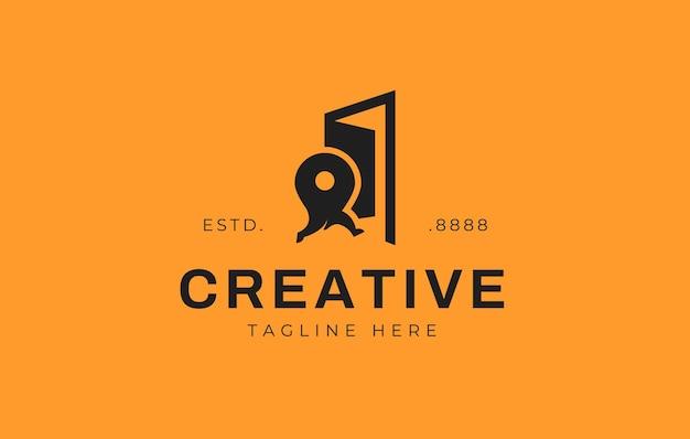 Дизайн логотипа двери булавки карты векторная иллюстрация булавки карты бежала к дизайну значка двери