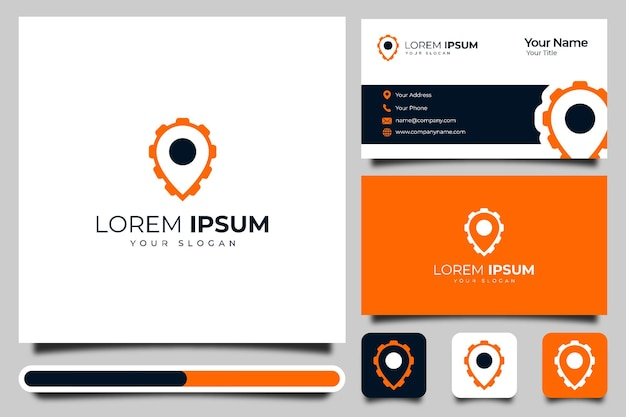 Map pin and gear creative logo design and business card template.