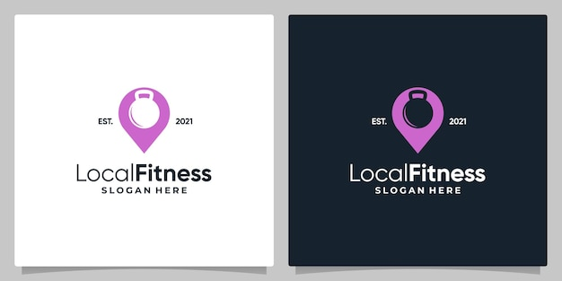 Map pin location symbol with barbell fitness and business card design.