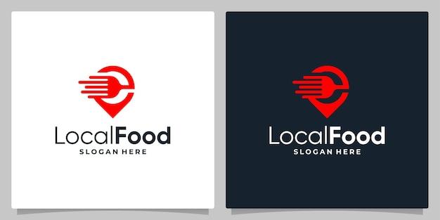 フォークスプーンと高速ロゴのロゴが付いた地図ピン位置記号。名刺デザイン。