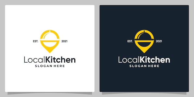 Map pin location symbol with logo a dish and business card design.