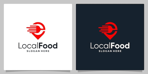 Map pin location symbol with logo a fork spoon and fast speed logo. business card design.