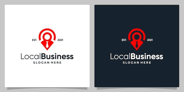 Map pin location symbol with logo a leader and business card design.