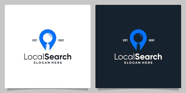 Map pin location symbol with logo a magnifying glass and business card design.