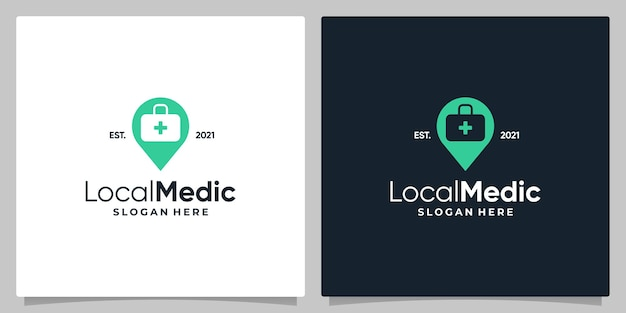 Map pin location symbol with logo a medical bag  and business card design.