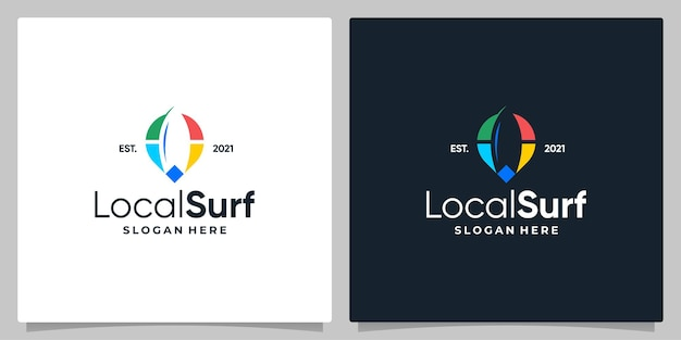 Map pin location symbol with logo a surf and business card design.