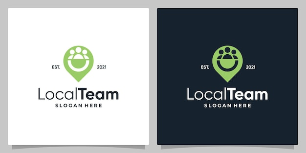Map pin location symbol with logo a team and business card design.