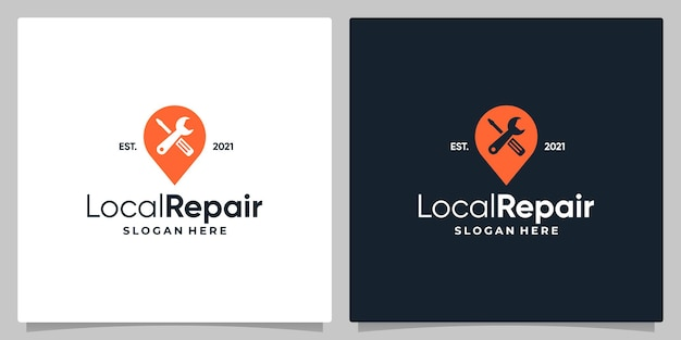 Map pin location symbol with logo a workshop equipment and business card design.