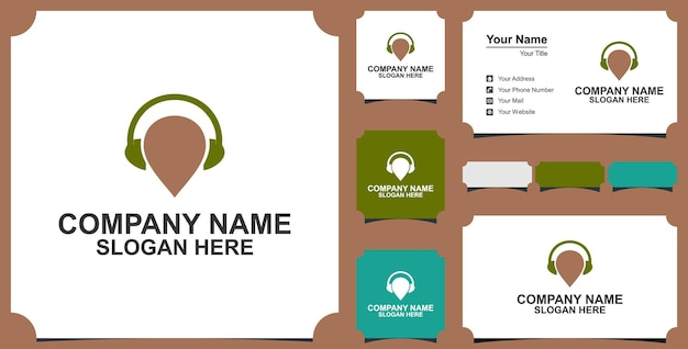 Map pin or location with headphone logo concept and business card premium vector