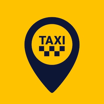 Map pin shape icon on yellow background