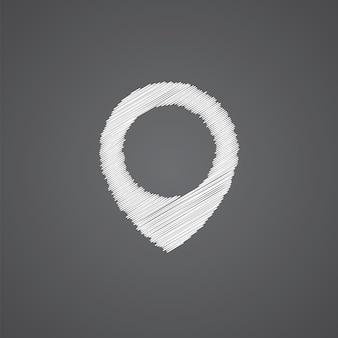지도 핀 스케치 로고 낙서 아이콘 어두운 배경에 고립