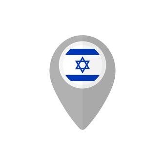 Значок карты с флагом израиля