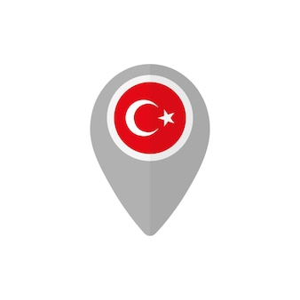 Значок карты с турецким флагом
