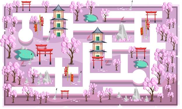パスとホーム、魚のいる池、2dゲームプラットフォーマーイラスト用の和風の飾りを使用したピンクの桜の日本語テーマのマップ