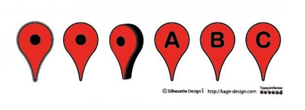 Map pins.