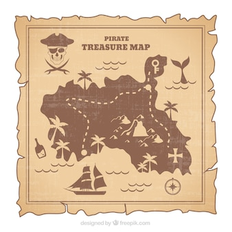 レトロスタイルの海賊の宝物を地図化する