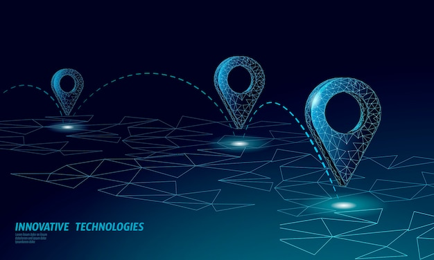 マップポイントの場所ビジネスシンボル。現実的なアイコンポリゴン配信世界中の惑星。配送オンラインショッピング方向都市住所位置ピン