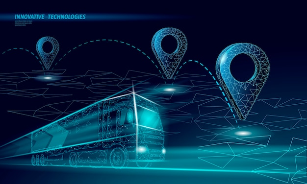 Map point location business symbol. realistic icon polygonal delivery worldwide truck car. shipping online shopping direction city address position pin  illustration.