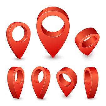 Указатель карты 3-контактный. красный штифт маркер для места путешествия. набор символов местоположения на белом фоне