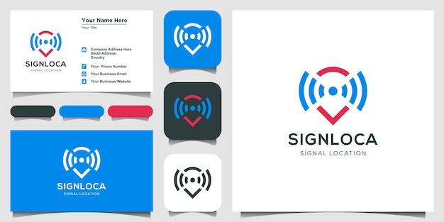 マップポインタとwifiロゴの組み合わせ。 gpsロケーターと信号シンボルベクトルと名刺