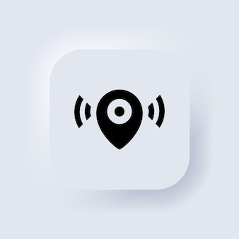 Map pointer icon. location icon. map pointer notification. simple looking for signal. neumorphic ui ux white user interface web button. neumorphism. vector eps 10.