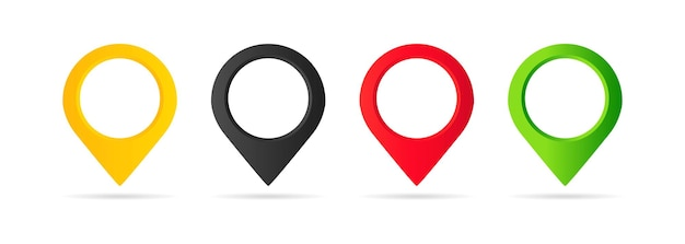 Map pointer icon set. geo pin, location icon or geolocation, gps, on isolated white background. eps 10 vector.