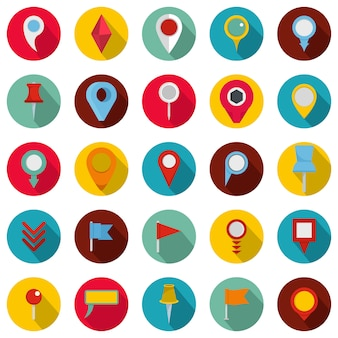 Map pointer icons set, flat style