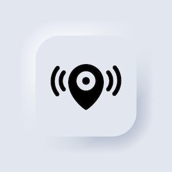 マップポインタ。場所アイコン。マップポインタ通知アイコン。信号を探しています。 neumorphic uiuxの白いユーザーインターフェイスのwebボタン。ニューモルフィズム。ベクターeps10。