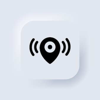 Map pointer. location icon. map pointer notification icon. looking for signal. neumorphic ui ux white user interface web button. neumorphism. vector eps 10.