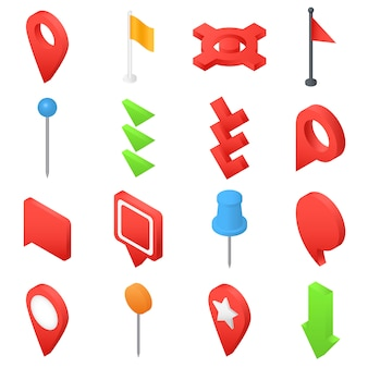 Map pointer pin arrow icons set