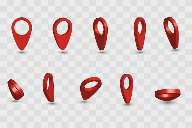 Map pointer. pointer red pin marker for travel location. set of vector location icons on transparent background. vector illustration.