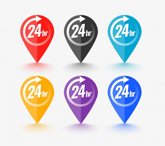 Map pointer set with 24 hour service symbol
