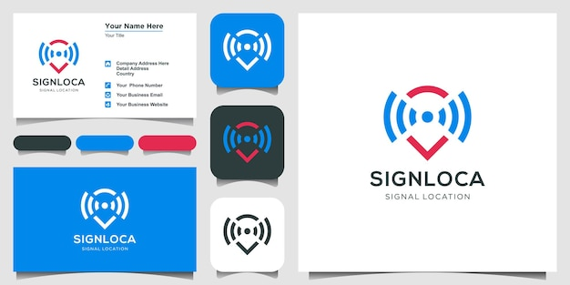 Map pointer and wifi logo combination. gps locator and signal symbol vector and business card