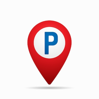 Map pointer with car parking icon.