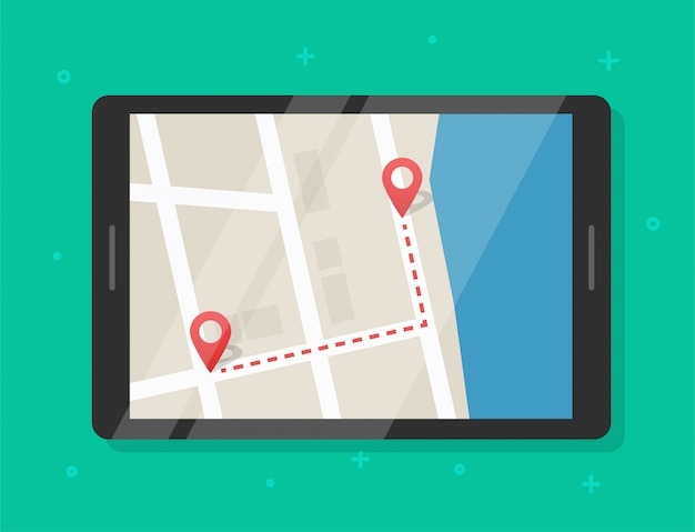 Карта маршрута пути с маркерами-указателями онлайн на экране планшета мобильного устройства