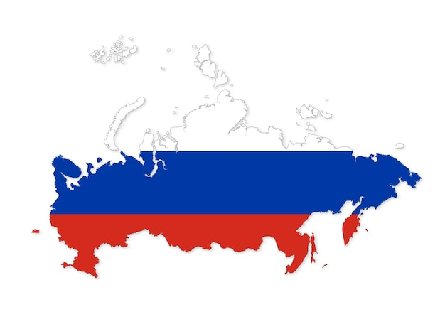 Map of russia russian federation map detailed country shape with flag