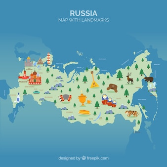 Map of russia with landmarks