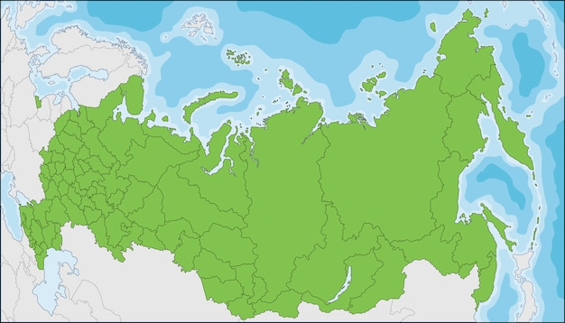 Map of the russian federation with federal subjects