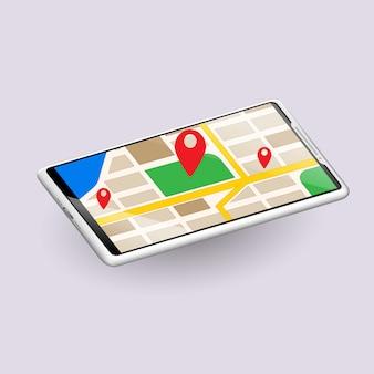 地図画面、電話のモックアップ、インフォグラフィックまたはプレゼンテーションデザインインターフェイスのテンプレート