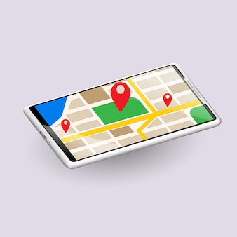 Map screen, phone mockup, template for infographics or presentation design interface