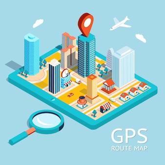 Map a small town on the tablet with the specified destination point. gps route map. city navigation app.