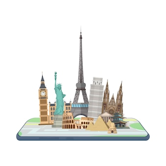 Map in the smartphone. world landmarks on the map.