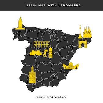 Map of spain with monuments