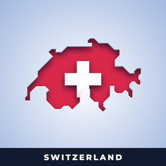 Map of switzerland with flag