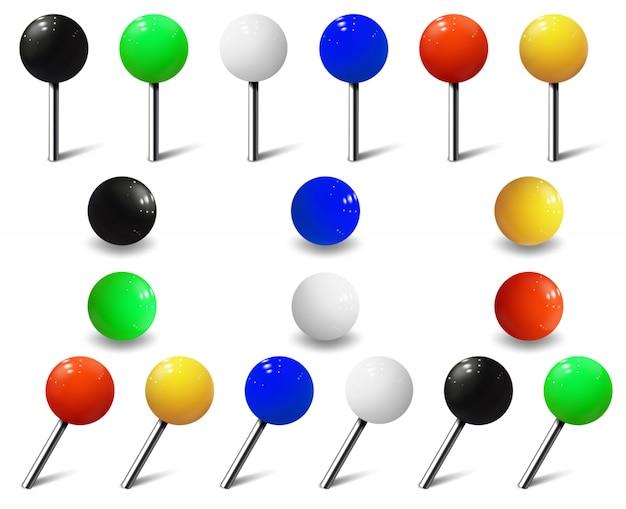 Map tacks, round pins and plastic map push pins