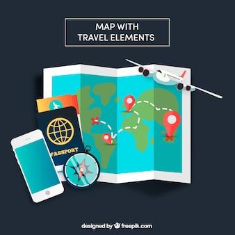 Mappa ed elementi di viaggio con design piatto