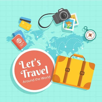 Map and travel elements with flat design